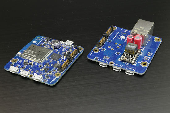 A YoctoHub-Wireless-G and a YoctoHub-Ethernet