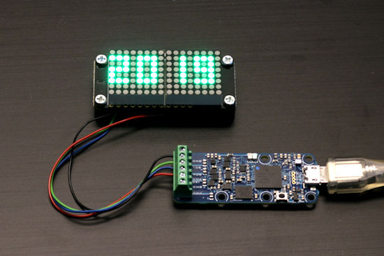 "Use with the small Adafruit 0.8"" 8x16 LED Matrix display"