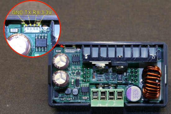 Pin-out of the serial port of the DPS5005 power supply