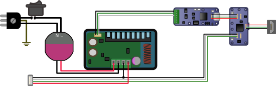 Diagram for a USB connection with a varying voltage